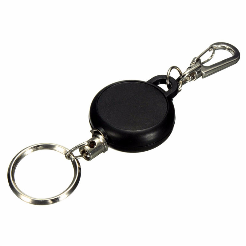 New Arrival Black 60cm Badge Reel Retractable Keychain Recoil Yoyo Ski Pass ID Card Holder Key Ring Key Chain Steel Cord(China (Mainland))