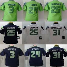 Youth Seattle Seahawks #3 Russell Wilsons #12 Fan #24 Marshawn Lynch Kids navy grey white green, ,logo,camouflage(China (Mainland))