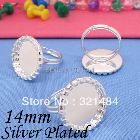 Silver Plated 200pcs adjustable ring blanks, ring base crimp edge 14mm cameo cabochon settings<br><br>Aliexpress
