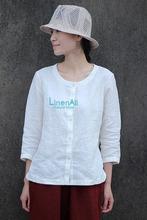 Linen clothing,women's senior linen white top shirts, Brief O-neck Three-quarter sleeve summer top shirts female LinenAll Yijiu