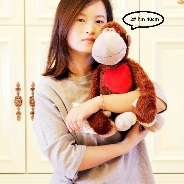 Classic 40cm New Germany NICI Jungle Brother Red Love Heart Monkey Plush Toy 1pcs Free Shipping
