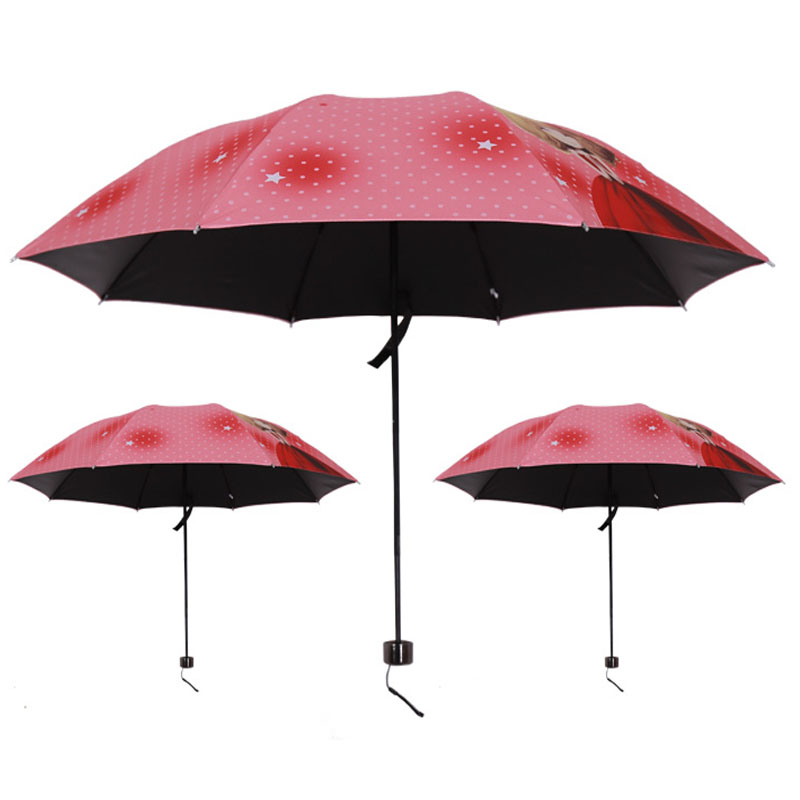2017 Promotion Rushed Girl Pattern beach Umbrella women's Rain women Fashion Arched Princess Female Beautiful Parasol For Gift(China (Mainland))