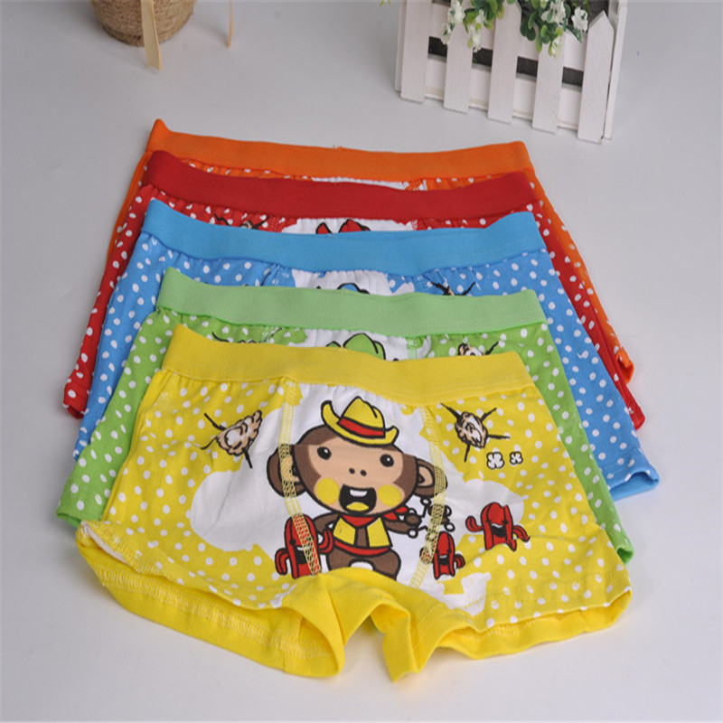 S371-4 Free Shipping Child Underwear Monkey Print Multi Color Kids Pants Boy/Girl Cotton Panties(China (Mainland))