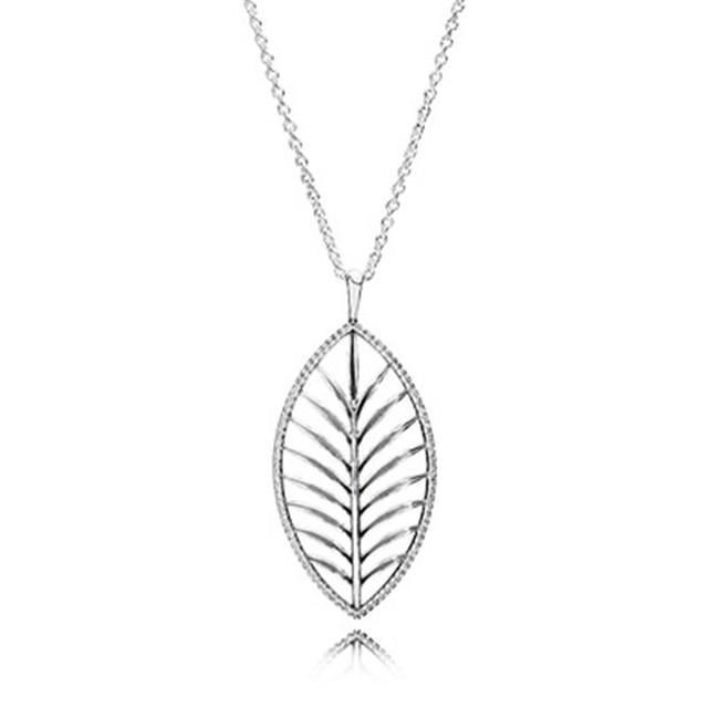Длина цепи 90 см 925 - серебристо-ювелирные проложить CZ тропических пальмовых деревьев ожерелье для женщин DIY подвески ювелирных изделий