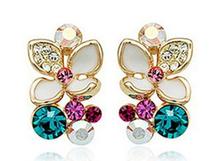 New enamel flower earrings fashion Floral Earrings Rhinestone beautiful angel alloy electroplating Stud earrings(China (Mainland))