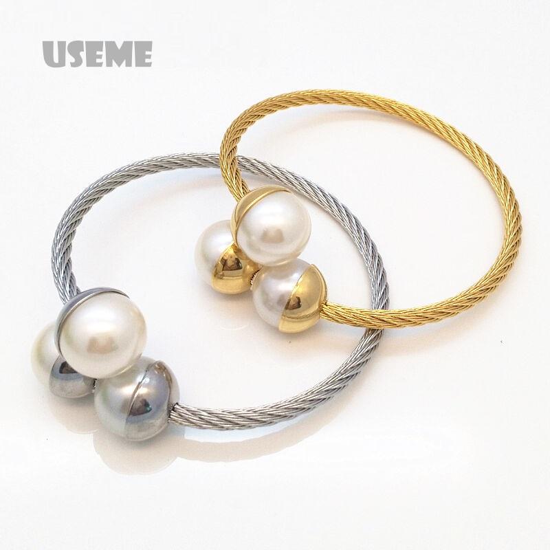 Fashion Double Imitation Pearl Bangles Italina Women Gold Plated White Round Beads Bracelet Female Gift Cuff(China (Mainland))