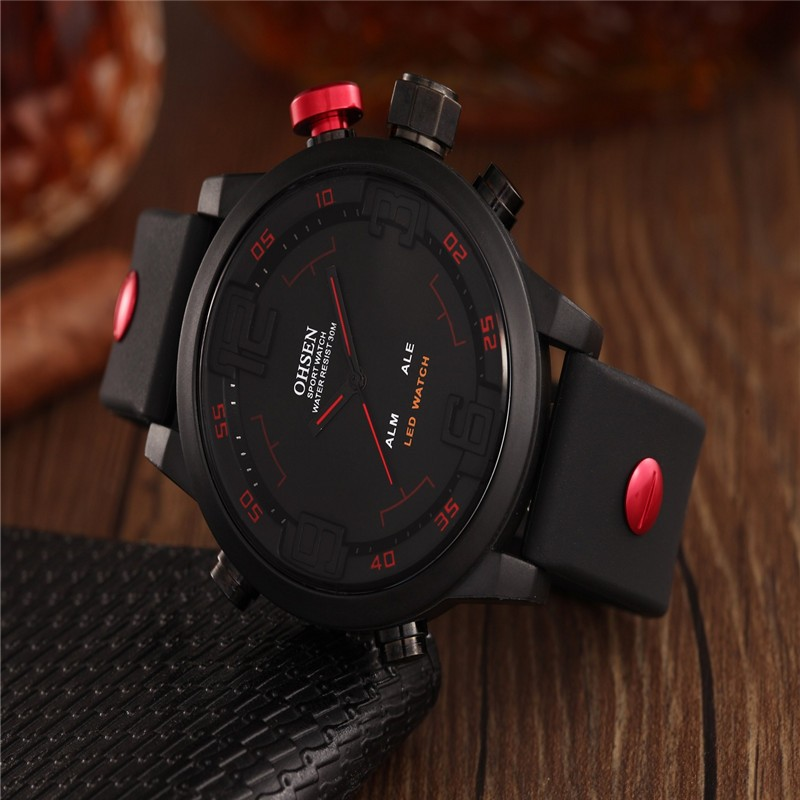 2016 New Fashion OHSEN Led Digital Watch Analog Quartz Watch Sports Watches Men Waterproof Relogio Masculino