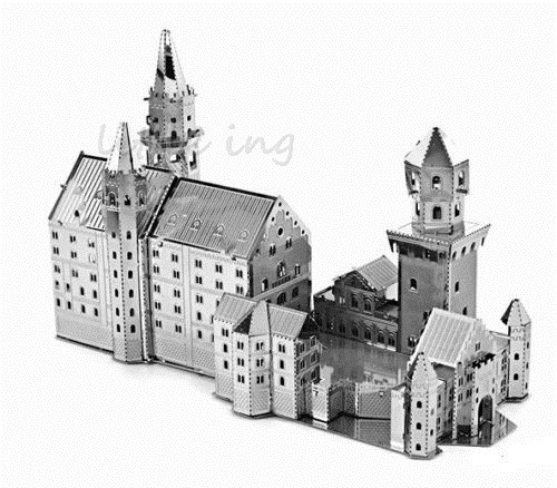 3D Scale jigsaw architecture Swan Stone Castle Assemble puzzle DIY Metallic Steel 3D metal Model Building Kits toys(China (Mainland))