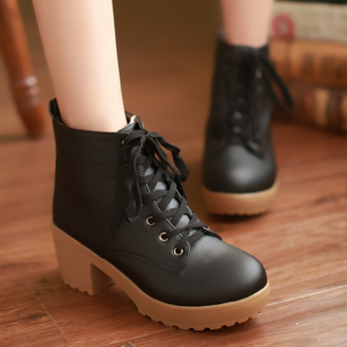 2015 Brand New Women Ankle Boots Vintage Design Lace Up Square Med High Heels Spring Autumn Shoes Platform Women Boots Shoes