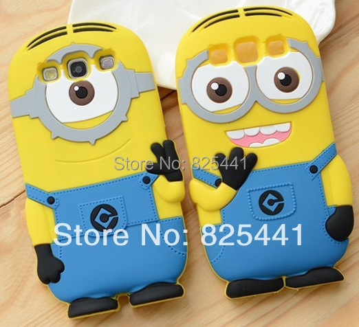 Cute Despicable Me Minions Case Back Cover Soft Silicon material Cell Phone Case For Samsung Galaxy S3 i9300 1pcs/lot(China (Mainland))