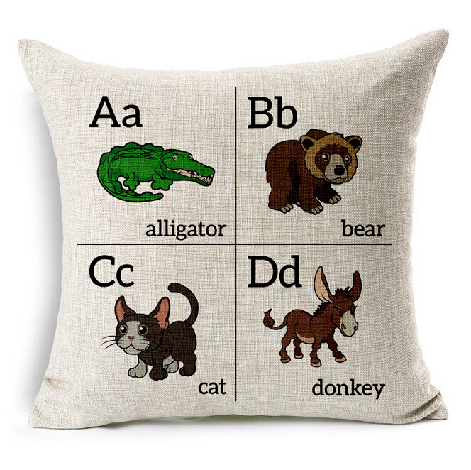 3 pcs for Choose Child ABCD English Images Learn to read Cartoon animal Sofa Pillow case/cushion covers KDT21(China (Mainland))