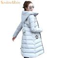 winter women super warm down jacket candy color Splice plus size plus long jacket padded elegant