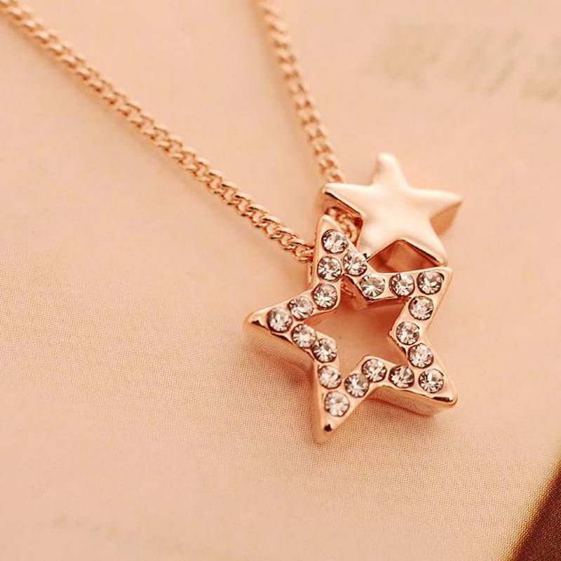 2015 Fashion New arrival Good Quality Fashion DL008 import Czech drilling chain pentagram clavicle love Han edition necklace(China (Mainland))