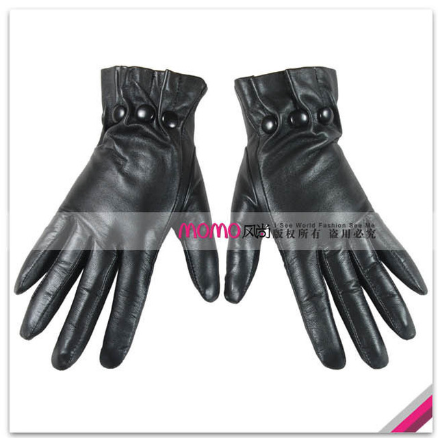Woma set warmen sheepskin leather buckle women's genuine leather gloves l037nq