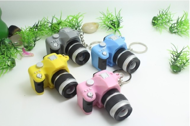 Free Shipping by DHL 1000pcs/lot Wholesale LED Plastic New SLR Camera Keychains Light Keyrings with Sound for Gifts(China (Mainland))