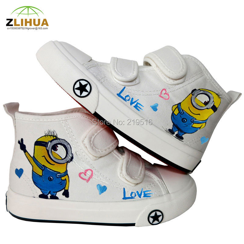 LUC Cartoon Graffiti Child Kids Hook &amp; Loop Hand Painted Canvas Shoes Despicable Me Minions Spongebob Bay Max Boys Gift Footwea<br><br>Aliexpress