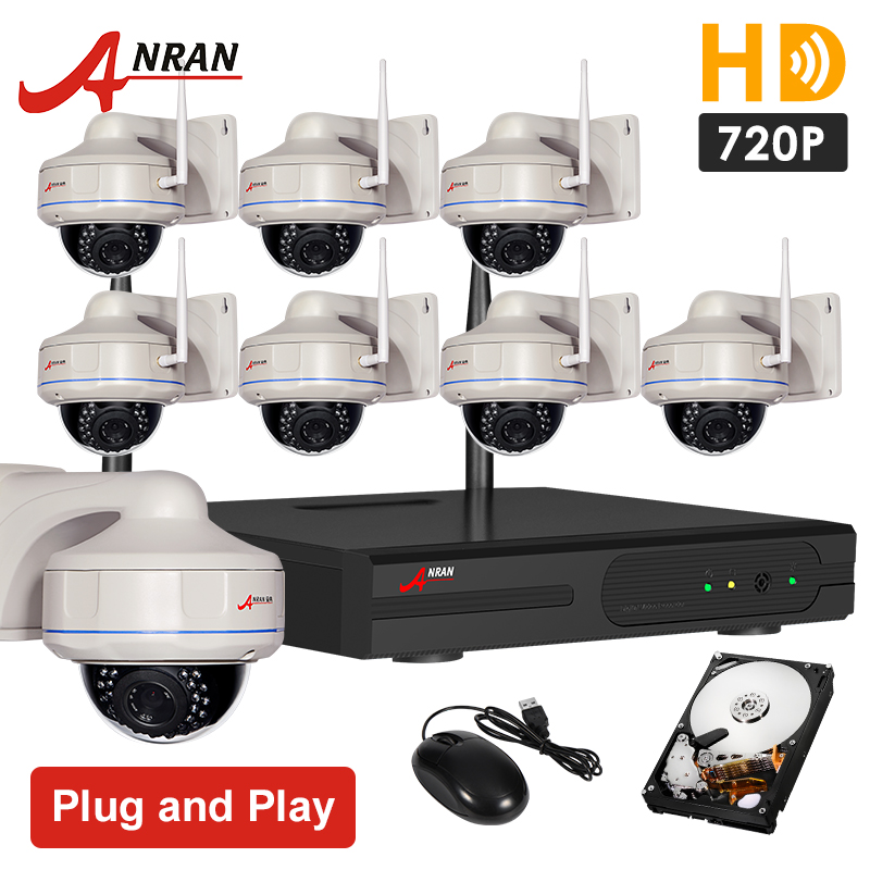 Plug And Play 8CH NVR Wireless CCTV System 2TB HDD 720P HD Vandalproof Fixed Dome Video Surveillance Security Camera System(China (Mainland))