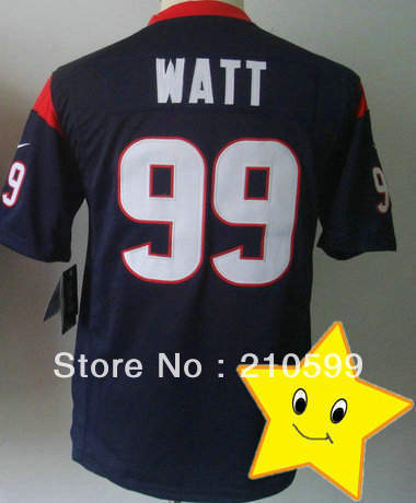 Free Shipping Kids #99 JJ Watt Jersey Blue Game Style Solid Material American Football Name And Numbers Are Sewn On Size S to XL