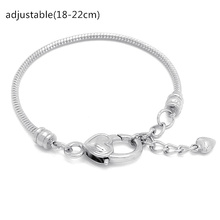 Bracelet Gift For Women European Silver Plated Bracelet & Bangle Snake Chain Fit Pandora Bracelet Or Chamilia Bead Charms(China (Mainland))