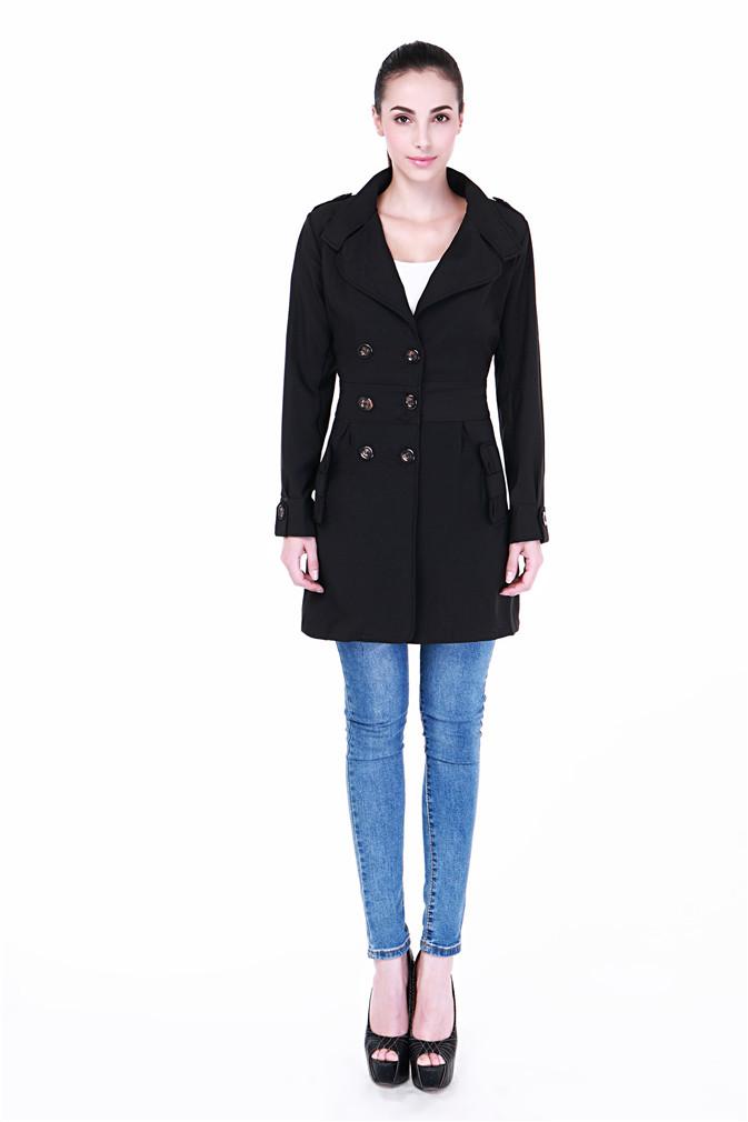 Fashion Brand Autumn Winter 2015 Women Long Trench Coat Runway Catwalk Khaki Beige Black Plus Size Double Breasted Windbreaker - Babra Corporation store