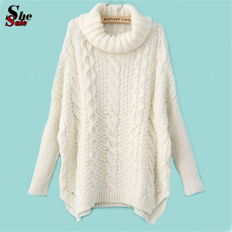 2015 New Fall/Winter Hot Top Women's Fashion Knitted Loose Sweater Casual White Long Sleeve Turtleneck Chunky Cable Sweater(China (Mainland))