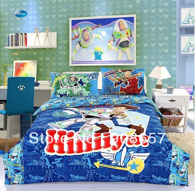 blue character Toy Story children's boy bedding twin full queen size comforter cotton quilt duvet covers bed in a bag sheets set
