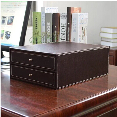 2 drawer wood structure leather container desk filing cabinet office storage box office organizer document