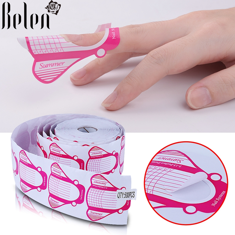Belen 500pcs Nail Forms Tips Acrylic Gel Extension Sticker Professional Nail Polish Curl Formes Nail Art Guide Form