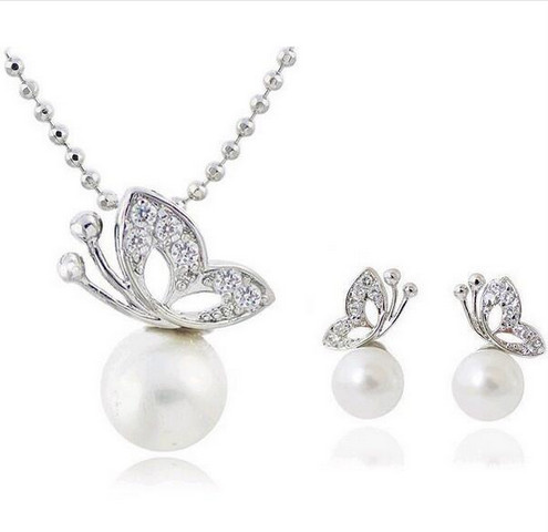 2 Sets Fashion Full Rhinestone Butterfly imitation pearl romantic Earrings/Necklace Jewelry Sets Wholesale For Women 1158 0115(China (Mainland))