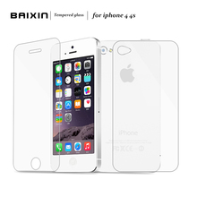 Baixin 2pcs/lot Front + Back 0.3mm 2.5D HD Ultra Thin Tempered Glass for iPhone4 4S Screen Protector for iPhone 4 4G 4S Film(China (Mainland))