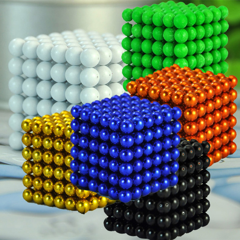 216pcs 5mm Multi-colored Neodymium Magnetic Balls Spheres Beads Magic Cube Magnets Puzzle Block Cube Magico Birthday Present(China (Mainland))