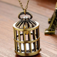 Buy Cindiry girl lady women bronze bird cage birdcage pocket watch necklace & pendants chain hour P19 for $3.23 in AliExpress store