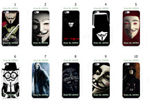 Mobile Phone Cases Wholesale 10pcs/lot Vendetta Anonymous Protective Plastic White Hard Case Cover For iphone 6 6s Free Shipping