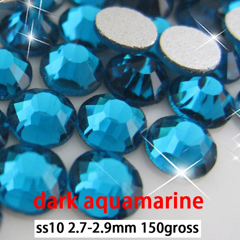 Free shipping dark aquamarine  flat back rhinestones flatback rhinestones ss10 150gross 15packs<br><br>Aliexpress