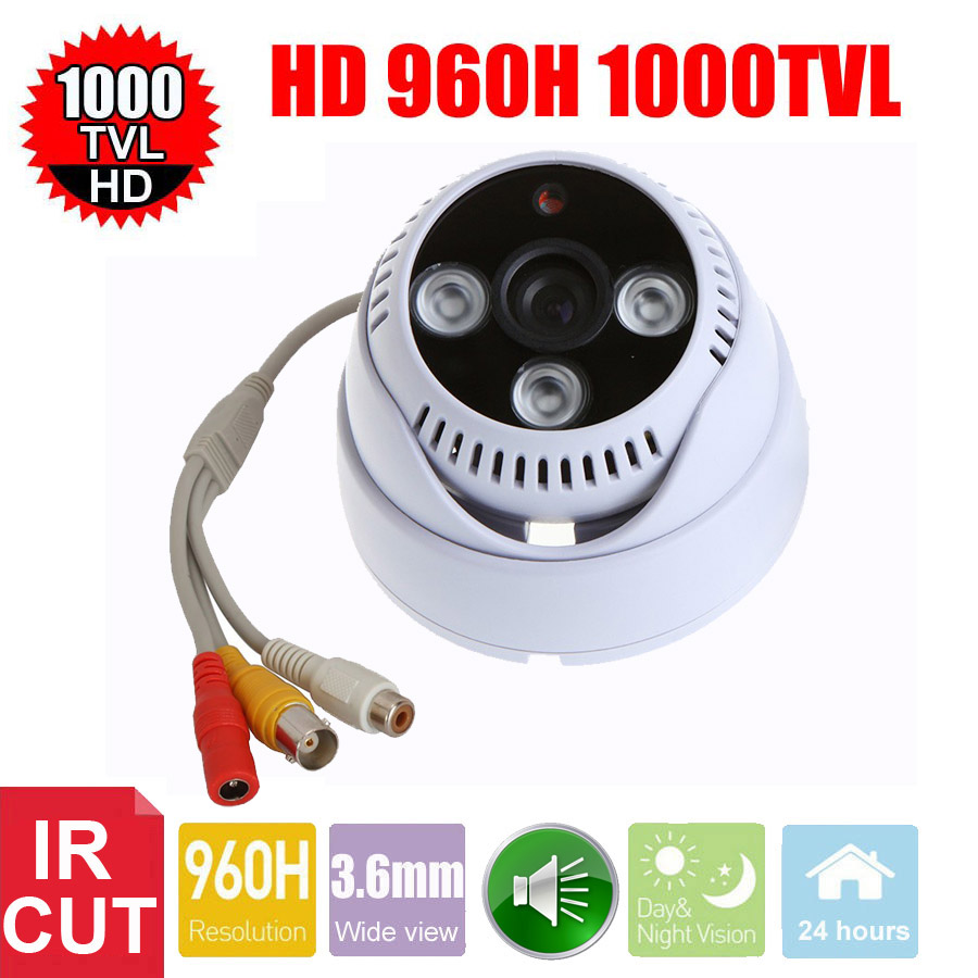 Vanxse CCTV 1/3 CMOS 1000TVL 3pcs Array LEDs IR-CUT D/N Indoor Dome Audio Security Camera Microphone Surveillance Camera(China (Mainland))