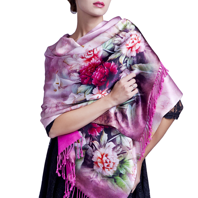 2016 new 100% real silk scarf double thick cape shawl wrap for women Autumn And Winter Luxury Lady Gift size 175x52CM(China (Mainland))