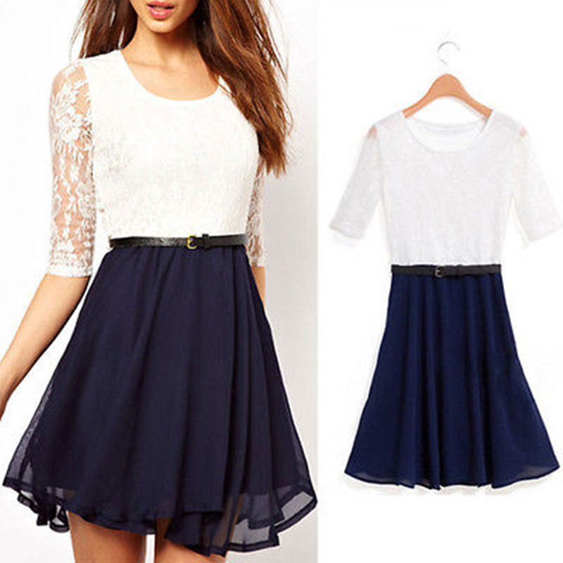 Free shipping New Womens Clothing Sexy White And Blue Patchwork Hollow Lace Long Sleeve Chiffon Party Dresses(China (Mainland))