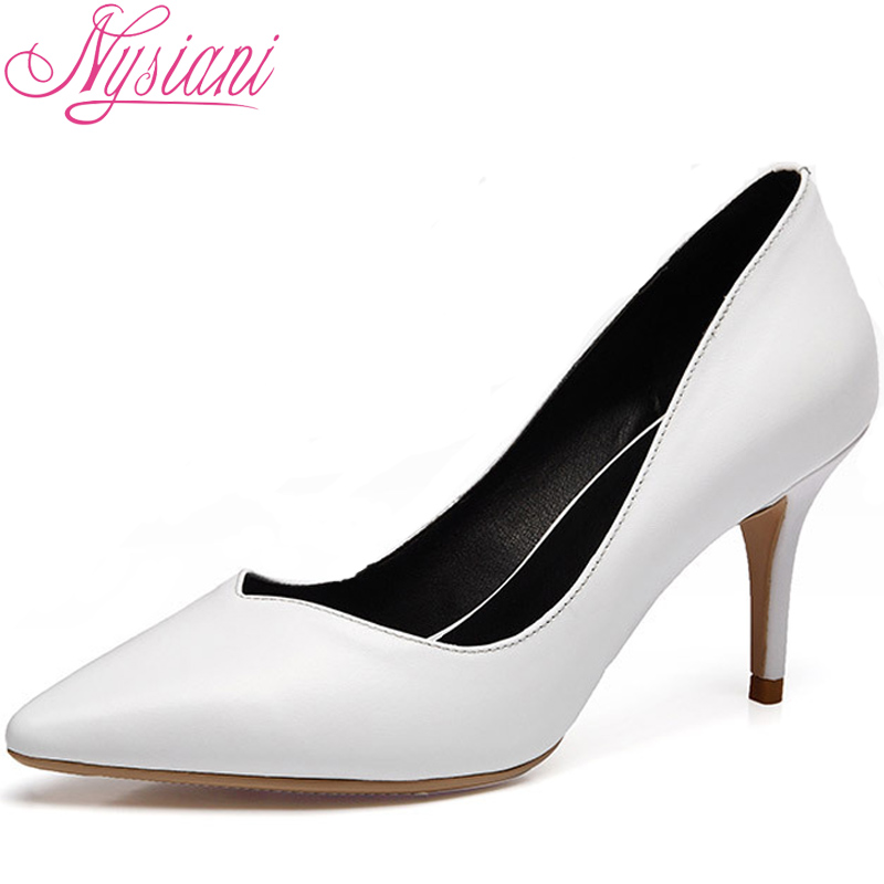 Nysiani Women High Heels Shoes Sexy Pointed Toe Thin Heel Wedding Shoes Genuine Leather Nightclub Lady Solid Pumps Zapatos Mujer(China (Mainland))