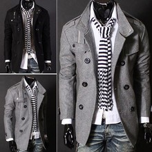 Fashion Korea Men's Coat Woolen Jackets Double Pea Trench Topcoat Outerwear Gray Color,Size:S/M/L/XL 22(China (Mainland))