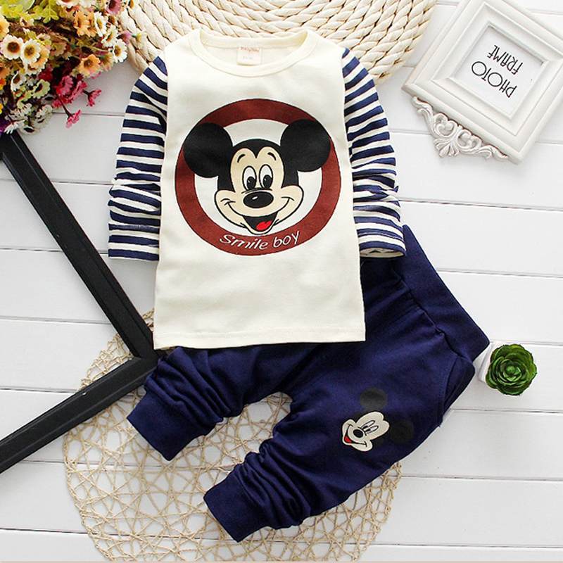 New Arrival 2015 Autumn Baby Boy Clothes Set Mickey Dress Kids Clothes 2pcs Boys Clothing Sets Tshirt+Pants 100% Cotton For 0-3T(China (Mainland))
