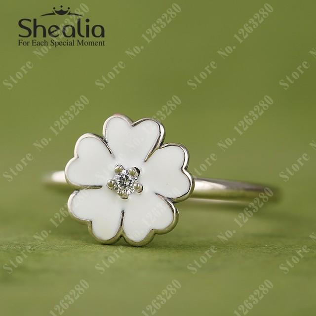Весна энотеры кольца с белый эмаль и прозрачный CZ 925 чистое серебро кольца для женщины своими руками ювелирные изделия аксессуары RIP118