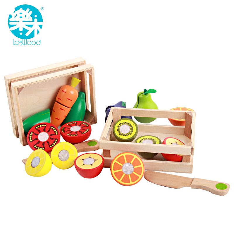 Деревянные Игрушки Кухня Резки Фрукты Овощи Играть миниатюрные Дети Деревянные детские раннего образования игрушки питания