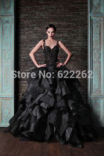 Fast Delivery Ball Gown Spaghetti Straps Black Ruffles Organza Lace Design Cheap Evening Dresses Beaded Fashion Evening Gowns(China (Mainland))