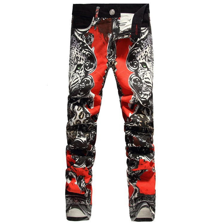 Leopard Printed Mens Elastic Jeans Hot sale Fashion Men Pencil Slim Jeans Night Club Long Pants Male Hairstylist Jeans TrousersОдежда и ак�е��уары<br><br><br>Aliexpress