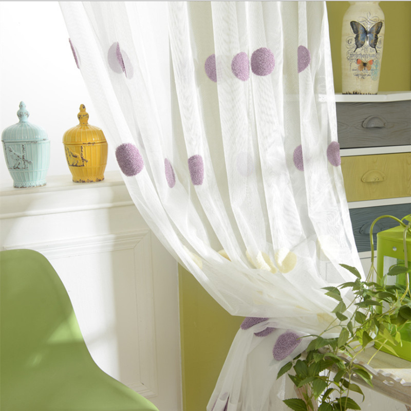 Dot embroidery voile 2016 new fresh high quality towel embroidered tulle simple customize home decoration curtains(China (Mainland))