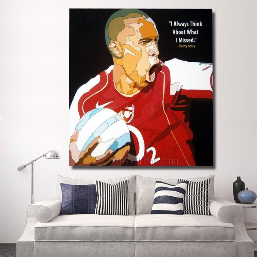 Free Shipping For Sell Wholesale Thierry Henry Pop Art Wall Decor Hand painted Art Canvas Oil Painting Wall Art Football Picture(China (Mainland))