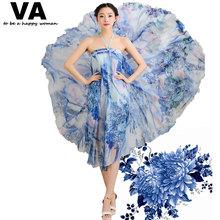 VA 19 Colors 2015 Summer Women Peacock Bohemian Floral Print 7.4 M Big Hem Chiffon Floor Long Maxi Skirts Of Tulle saia faldas