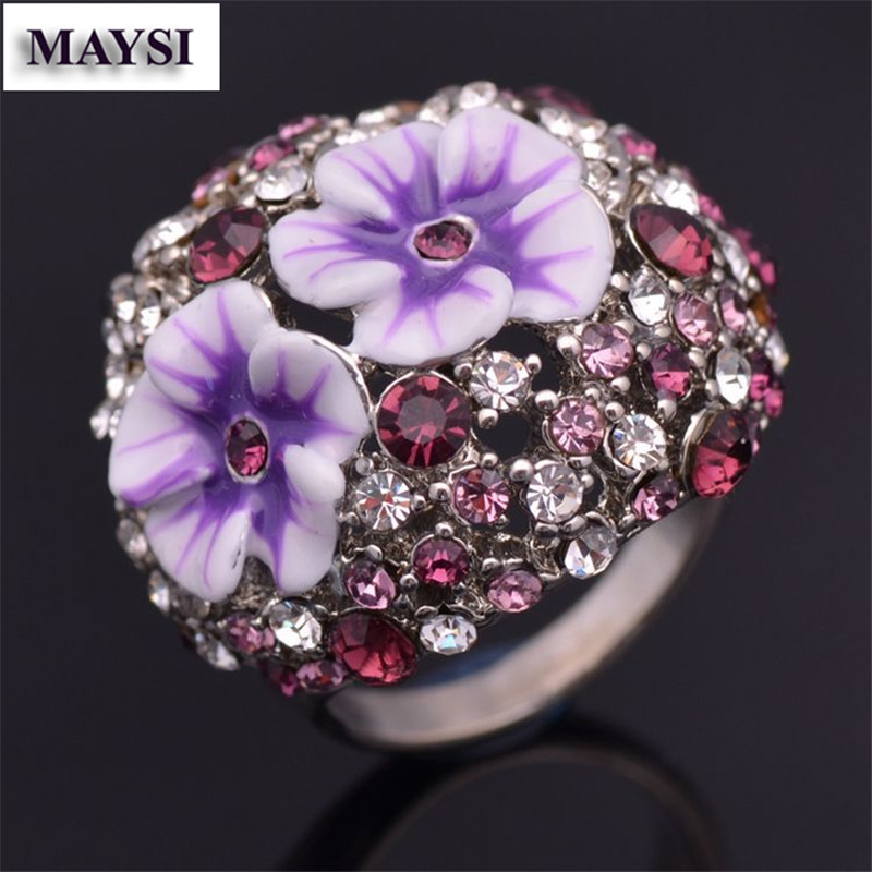 Complicated Design Jewelry Double Enamel Flower Big Rings For Graceful Ladies Full Crystal anillos rw13b(China (Mainland))