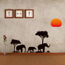 Jungle Wild Cartoon Tree Elephant Sun Prairie Removable Decal Home Decor Wall Sticker Wallpaper high Quality(China (Mainland))