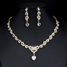 Jiayijiaduo Neue braut schmuck set für glamour frauen hochzeit kleider zubehör zirkon halskette ohrringe set gold farbe(China)